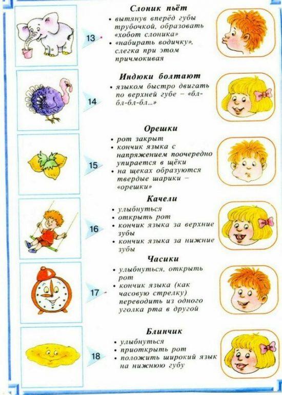 """Упражнения """"Слоник пьет"""", """"Индюк"""", Орешки"""", """"Качели"""", """"Часики"""", """"Блинчик"""""""