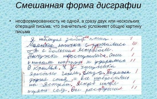 Пример письма при смешанной дисграфии