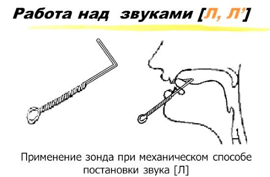 Механическая постановка звука л