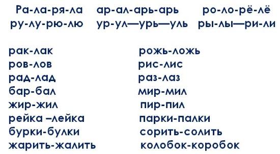 Дифференциация звуков л и р