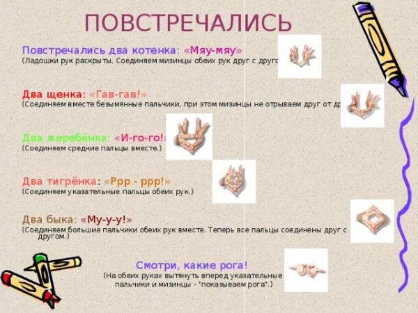 Пальчиковая гимнастика для активации работы отдельных пальцев